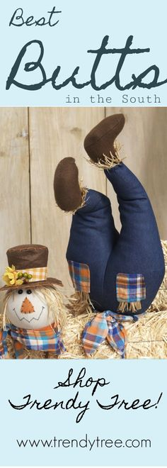 Whimsical RAZ Scarecrow butt and head pick at Trendy Tree. Coming soon! Get on the waiting list now, they won't last long. #TrendyTree #scarecrow #raz
