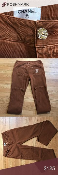 Chanel Jeans Rust colored (unisex) Chanel jeans lightly worn, color has very minor fading(wash wear) and one jewel is missing from button but these are GORGEOUS CHANEL Jeans
