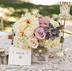 pale peach and pink roses, hydrangea, succulents