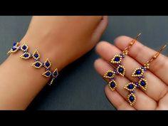 Seed Bead Jewelry Making Tutorials For Beginners//Bracelet & Earrings// Useful & Easy - YouTube Beaded Jewelry Designs, Handmade Beaded Jewelry, Seed Bead Jewelry, Bead Jewellery, Seed Beads, Diy Jewelry Necklace, Earrings Handmade, Jewlery, Beaded Bracelets Tutorial