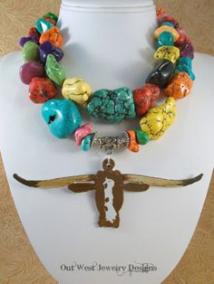 Western Cowgirl Statement Necklace Set  Chunky Multicolored Howlite Nuggets - Hand Painted Texas Longhorn by Outwestjewelry