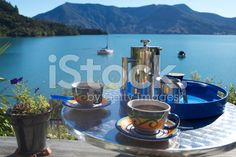 Coffee Break, Marlborough Sounds, New Zealand royalty-free stock photo Marlborough Sounds New Zealand, Maori Legends, The World Race, Kiwiana, New Zealand Travel, Green Cleaning, Travel And Tourism, French Press, Coffee Break