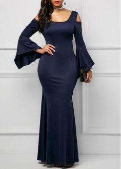 """Universe of goods - Buy """"Clocolor Long Party Dress Elegant Dark Blue Long Sleeve Autumn Robe Sexy Women Cold Shoulder Bodycon Backless Maxi Mermaid Dress"""" for only USD. Tankini, Mode Glamour, Tight Dresses, Maxi Dresses, Sleeve Dresses, Women's Fashion Dresses, Party Dresses, Wedding Dresses, Bodycon Dress"""