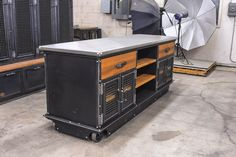 Boxcar Ellis Console with a Stainless Top by Vintage Industrial Furniture