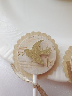 Romantic Dove Cupcake Toppers, Romantic Dove Cupcake PIcks, Romantic Dove Favor Tags, Dove Gift Tags, Gold Dove Toppers and Tags by YouTopThat on Etsy