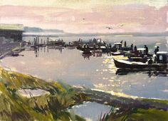 Haidee-Jo Summers artist : Oyster boats at sunrise, Eastpoint