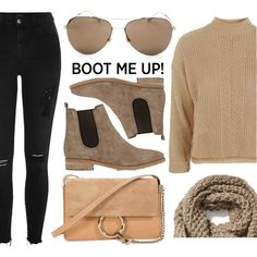Everyday Look by smartbuyglasses on Polyvore featuring Topshop, River Island, Gucci, Barneys New York, Chloé, Old Navy, casual, brown, beige and chelseaboots