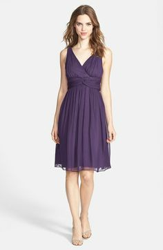Donna Morgan 'Jessie' Twist Silk Chiffon Dress (Regular & Plus) | Nordstrom- they also have a strapless version and a one shoulder i think- so you could have different necklines with different dresses.