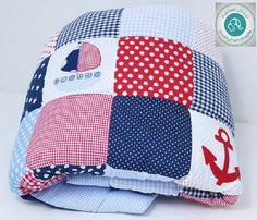 Babydecken -  Maritim - Anker   Babydecke Krabbeldecke - ein Designerstück von made-by-Rosi bei DaWanda Cotton Fabric, Etsy, Children, Pattern, Design, Sewing, Bebe, Anchors, Sailing