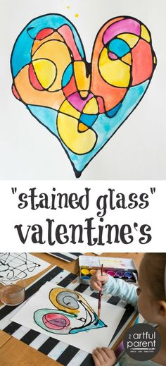 How to make faux stained glass Valentine's with black glue. This fun kids art activity can be adapted to any image, scene, or holiday. #StainedGlassHowToMake