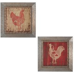 2-piece wall decor set with riveted metal frames and plank-style rooster prints.      Product: 2-Piece framed wall decorCo...