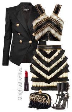 """Hornet"" by highfashionfiles ❤ liked on Polyvore featuring Balmain, Alexander McQueen, Giuseppe Zanotti, Luxe, balmain, CelebrityStyle and highfashionfiles"