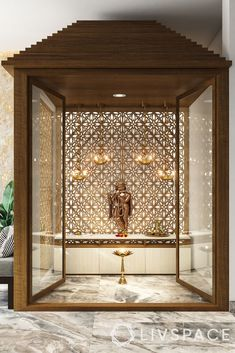 modern pooja room door designs-mandir-glass door-wood frames Pooja Room Door Design, Home Room Design, Home Interior Design, Temple Room, Home Temple, Bungalow House Design, Modern House Design, Contemporary Design, Jaali Design
