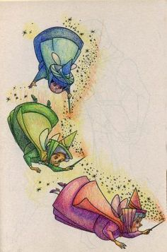 print out the fairies, glue onto cardboard, and attach to string. disney. can hang in a corner like they are flying away