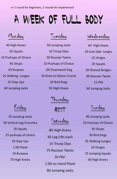 A week of full body workouts