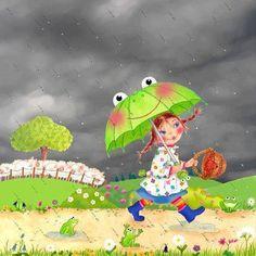 Rain Cartoon, Umbrella Art, Kahlil Gibran, Gabriel Garcia Marquez, Naive Art, Illustrations, Whimsical, Snoopy, Fictional Characters