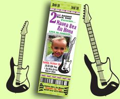 Concert Ticket invitation for a Rock n Roll themed birthday party