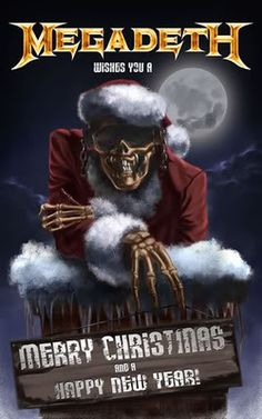 Merry Christmas & Happy New Year Dark Christmas, Christmas Art, Heavy Metal Christmas, Xmas, Rockabilly, Vic Rattlehead, Grim Reaper Art, Bad Santa, Wolf
