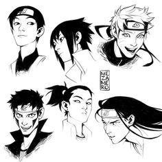 Sweet Honey — me-za-me-ro: Some Konoha faces Naruto Uzumaki, Anime Naruto, Gara Naruto, Fan Art Naruto, Shikamaru, Kakashi, Naruto Boys, Blue Exorcist, Manga Art