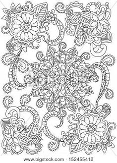 Mandala Flower Coloring Book For Adults Vector Illustration Anti Stress Adult Black And White Lines