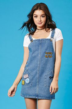 """A denim overall mini dress from our exclusive Forever 21 x Pixar Collection featuring assorted Finding Dory patches and graphics including a """"Stuck On You"""" embroidered graphic on the chest, adjustable straps, buttoned sides, and slanted patch pockets. Blue Denim Dress, Denim Overall Dress, Denim Outfit, Denim Fashion, Cute Fashion, Girl Fashion, Fashion Outfits, Casual Dresses, Casual Outfits"""