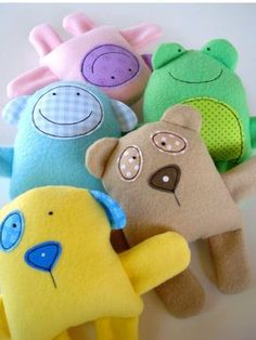 Toy Sewing Pattern - PDF ePATTERN for Baby Animal Softies - Knutselen met stofrestjes, Speelgoed naaien en Baby knutselen Sewing Toys, Baby Sewing, Sewing Crafts, Sewing Projects, Sewing Ideas, Sewing Tutorials, Clay Tutorials, Painting Tutorials, Free Sewing