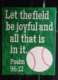 Hand painted Baseball Psalm on Canvas