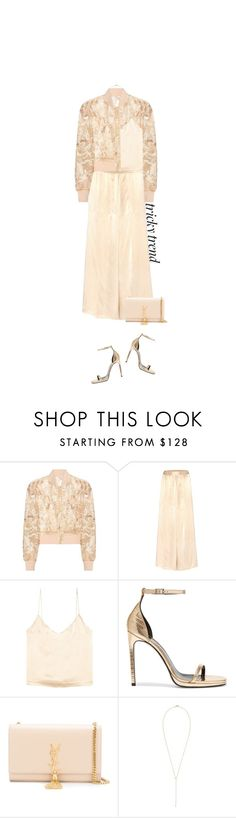"""Daytime Pyjamas: Cream Satin & Lace Jacket"" by hollowpoint-smile ❤ liked on Polyvore featuring Ganni, Yves Saint Laurent and Rebecca Taylor"