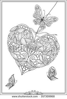 Decorative Love Heart with flowers and butterflies. Valentines day card. Coloring book for adult and older children. Coloring page. Outline drawing. Vector illustration