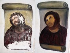 This combination of two undated handout photos made available by the Centro de estudios Borjanos shows the 20th century Ecce Homo-style fresco of Christ before (left) and after (right) an elderly amateur artist Celia Gimenez, 80, took it upon herself to restore it in the church of the northern Spanish agricultural town of Borja. The incident made national news and was an Internet trending topic Thursday Aug 23 2012 with some Twitter users dubbing it 'Ecce Mono', meaning 'Behold the Monkey'…