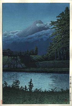 M. Fuji from Taganoura Bridge, Woodblock Print, by Kawase Hasui, 1930 -- via eBay -- See also at: http://www.artmemo.fr/estampes-japonaises/HASUI%20KAWASE.htm