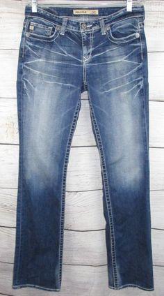 054db6b307a0f BIG STAR womens Jeans 28L KAYLA 32x34 Mid Rise Boot Distressed Stretch Md  Blue #BIGSTAR