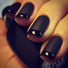 Orly (Matte Vinyl) and O.P.I (Night). Not one to like black nails but if I was going to do it, this would be how. :)