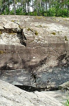 Stone carving of a reindeer at the Stone Age site of Bøla, discovered in 1895, close to a waterfall about 30 kilometres from Steinkjer, Nord-Trøndelag. The carvings there are thought to be 5,500 years old.