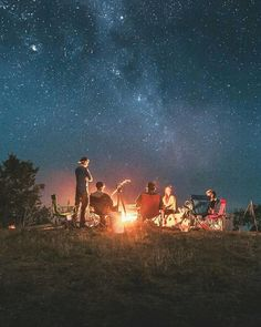 Good Times . Fire Camp . Outdoor . Enjoy the Little Things in Life . Friends . Starry Night .