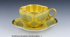 COALPORT JEWELED PORCELALIN HAND PAINTED CUP & SAUCER