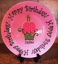 Happy Birthday Hand Painted Plate - Customized and Made to Order. $25.00, via Etsy.
