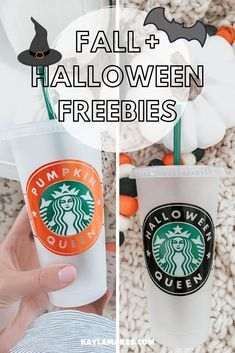 Halloween Freebies Are Here Hey, friends! Just popping in to let you know that Fall & Halloween themed cut files are up! Lots of cute options to make your starbucks cups stand out all. Personalized Starbucks Cup, Custom Starbucks Cup, Starbucks Fall Cups, Starbucks Halloween Cups, Starbucks Tassen, Disney Starbucks, Cricut Craft Room, Cricut Tutorials, Cricut Ideas