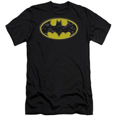 BATMAN/BATS IN LOGO - S/S ADULT 30/1 - BLACK -