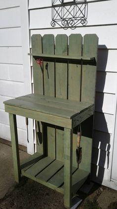 Outdoor Potting Bench, Potting Bench Plans, Potting Sheds, Outdoor Projects, Wood Projects, Outdoor Decor, Garden Crafts, Garden Ideas, Potted Plants Patio