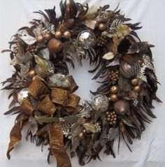 Brown Christmas Holiday Feather Wreath - Christmas in July.  via Etsy.