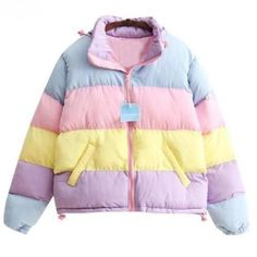 Harajuku rainbow hit color cotton coat sold by Harajuku Fashion Style. Shop more products from Harajuku Fashion Style on Storenvy, the home of independent small businesses all over the world. Pastel Fashion, Cute Fashion, Fashion Outfits, Fashion Styles, Rainbow Fashion, Jeans Fashion, Fashion Boots, Moda Instagram, Harajuku Mode
