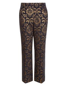 Steal the focus at this season's events with our Fabrice black jacquard trousers, woven with opulent gold patterns. Lined for a smooth fit, this tailored pair sits just above the ankles, and finished with belt loops. Matching Fabrice jacquard jacket available.Model wears UK 8/UK S/EU 36/US 4. Model height is 175 cm/5'9.