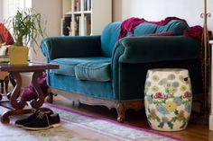 Beautiful worn in velvet sofa