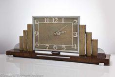 Pure Art Deco Clock Veneered in Walnut & Shagreen c.1925