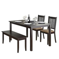 Add comfort to your dining room with this practically styled dining set from CorLiving. This 4pc set includes two chairs with Beige microfiber upholstered seats, a stylish 2-person bench and an oblong wood table constructed of hardwood and wood veneers. Featuring a Rich Cappuccino finish that will compliment any decor setting. This quality product offers great value and assembles with ease.