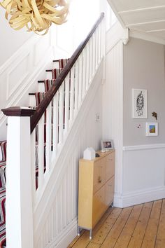 Edwardian Hallway with Striped Stair Runner and Cornforth White Walls Little House, Hallway Colours, House, Home, Interior Design Kitchen Small, Edwardian House, Cornforth White, Cornforth White Hallway, House And Home Magazine