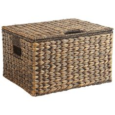 Carson Espresso Wicker Rectangular Lidded Storage Basket Hand-woven of water hyacinth, this lidded basket is simply beautiful. Place it on a nearby shelf or counter and use it to organize your life so it will be simply beautiful, too. Storage Baskets With Lids, Basket Shelves, Blanket Storage, Pillow Storage, Water Hyacinth, Living Room Storage, Rattan Basket, Wicker Basket With Lid, Country Farmhouse Decor