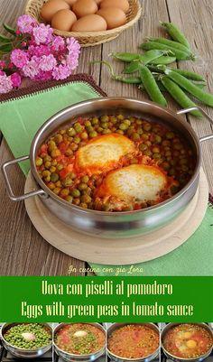 Egg Recipes, Cooking Recipes, Green Peas, Tomato Sauce, Bruschetta, Chana Masala, Mozzarella, Good Food, Food And Drink