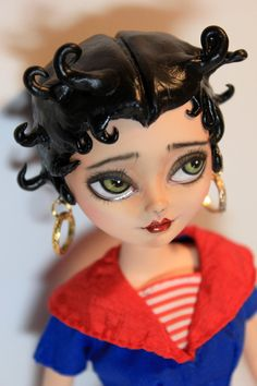 BETTY BOOP Custom Altered Art Doll OOAK Repaint by Refabrications #refabrications #ooak #ooakdoll #dollrepaint #repaint #custom #customdoll #everafterhigh #everafterhighdoll #ooakeveafterhigh #ooakbarbie #barbie #barbierepaint #custombarbie #bettyboop #patriotic #american #girl #pretty #beautiful #unique #sculpted #hair #sculptedhair #moldedhair #clay #epoxy #epoxyclay #eyes #greeneyes #retro #50s #fifties #sailor #workinggirl